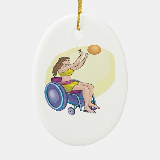 Wheel Chair Basketball Double-Sided Oval Ceramic Christmas Ornament