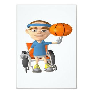 """Wheel Chair Basketball 5"""" X 7"""" Invitation Card"""