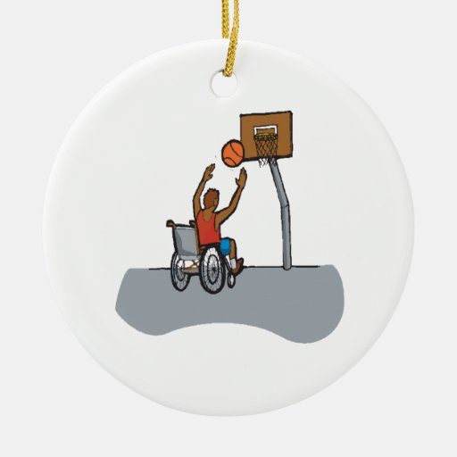 Wheel Chair Basketball Double-Sided Ceramic Round Christmas Ornament
