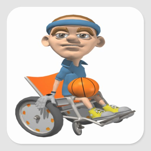 Wheel Chair Basketball Square Sticker