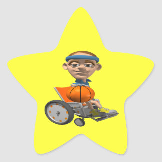 Wheel Chair Basketball Star Sticker