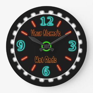 Wheel Cool Faux Neon (Personalized) Large Clock