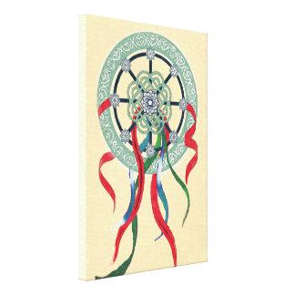 Wheel Mandala and Color Ribbons Canvas Print