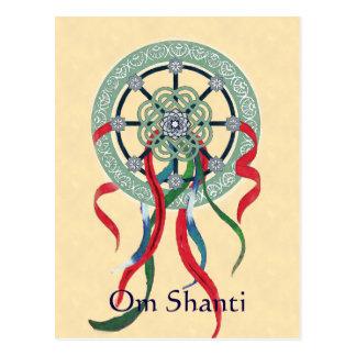 Wheel Mandala and Ribbons Om Shanti Postcard