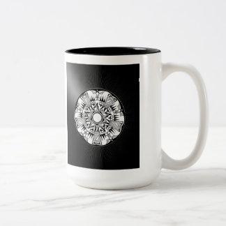 'Wheel of Black Sunshine' Two-Tone Coffee Mug
