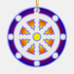 Wheel of Dharma Double-Sided Ceramic Round Christmas Ornament