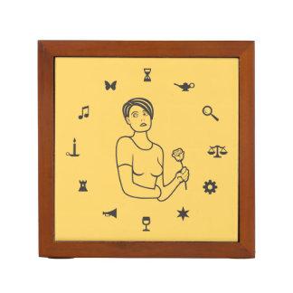 Wheel of Symbols Girl Pencil Holder