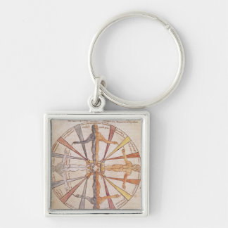 Wheel of the seasons and months Silver-Colored square keychain