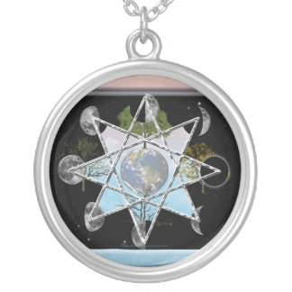 Wheel of the Year Octagram Silver Plated Necklace