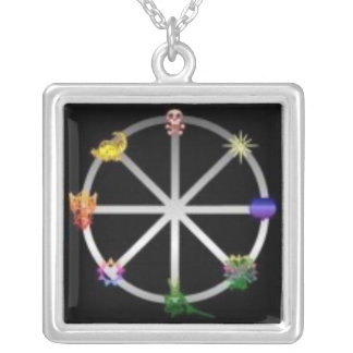 Wheel of the Year Square Pendant Necklace