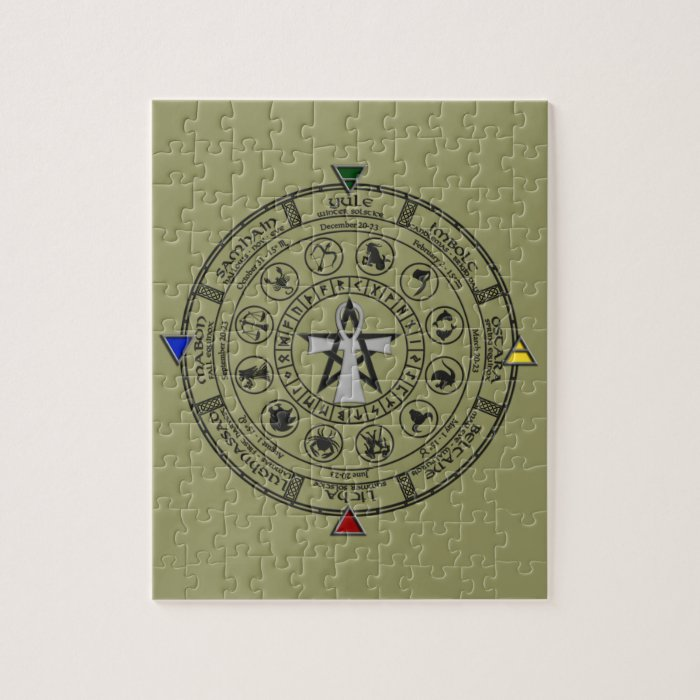 Wheel of the Year Zodiac Sabbats Runes Jigsaw Puzzle