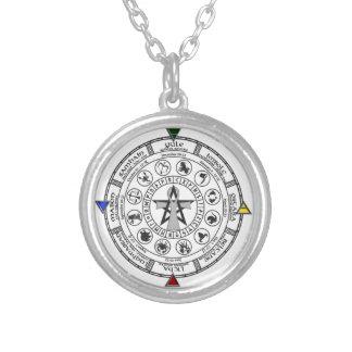 Wheel of the Year Zodiac Sabbats Runes Pendant