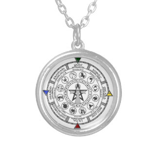 Wheel of the Year Zodiac Sabbats Runes Round Pendant Necklace