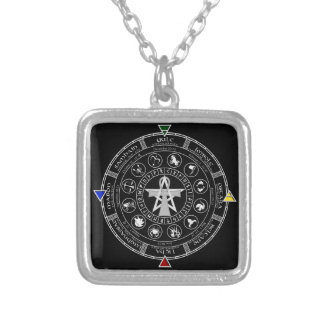 Wheel of the Year Zodiac Sabbats Runes Square Pendant Necklace