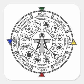 Wheel of the Year Zodiac Sabbats Runes Square Sticker
