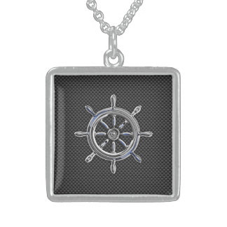 Wheel on Carbon Fiber style Sterling Silver Necklace