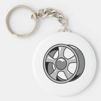 Wheel Rim Basic Round Button Keychain