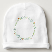 < Wheel (water color) of grass flower patterns > Baby Beanie
