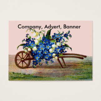 Wheelbarrow of Blue and White Flowers Business Card