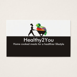 wheelbarrow woman chef giant vegetables busines... business card