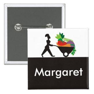 wheelbarrow woman chef giant vegetables name ta... pinback button