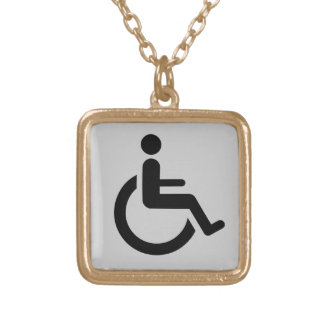 Wheelchair Access - Handicap Chair Symbol Gold Plated Necklace