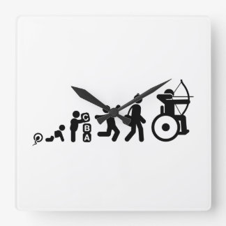 Wheelchair Archery Square Wall Clock