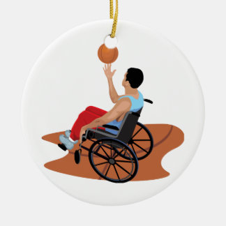 wheelchair basketball ceramic ornament