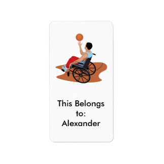 wheelchair basketball personalized address labels