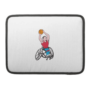 Wheelchair Basketball Player Shooting Ball Cartoon Sleeves For MacBooks