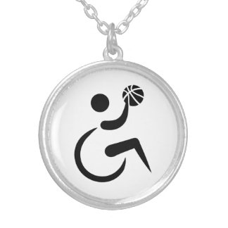Wheelchair basketball silver plated necklace