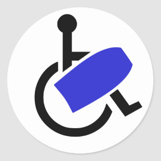 Wheelchair Bodyboarder Classic Round Sticker