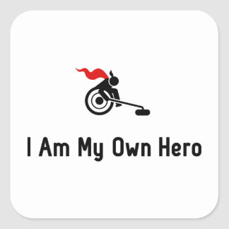 Wheelchair Curling Hero Square Sticker