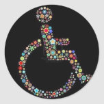 wheelchair_funky_zazzle.jpeg classic round sticker
