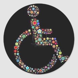 wheelchair_funky_zazzle.jpeg classic round sticker