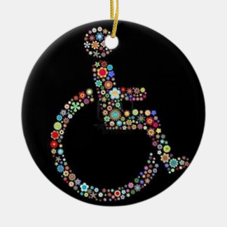 wheelchair_funky_zazzle.jpeg Double-Sided ceramic round christmas ornament