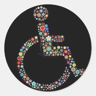 wheelchair_funky_zazzle.jpeg pegatina redonda