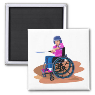 Wheelchair Girl Ball.png 2 Inch Square Magnet