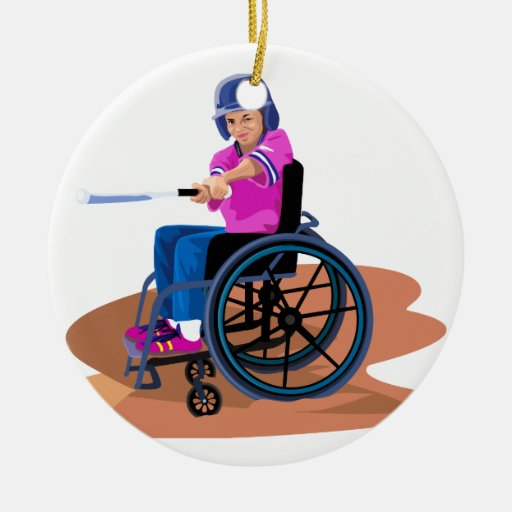 Wheelchair Girl Ball.png Christmas Ornament