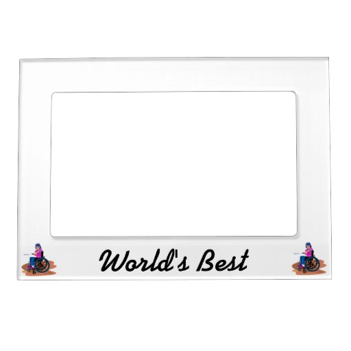 Wheelchair Girl Ball.png Magnetic Photo Frame
