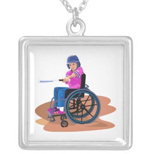 Wheelchair Girl Ball.png Necklace