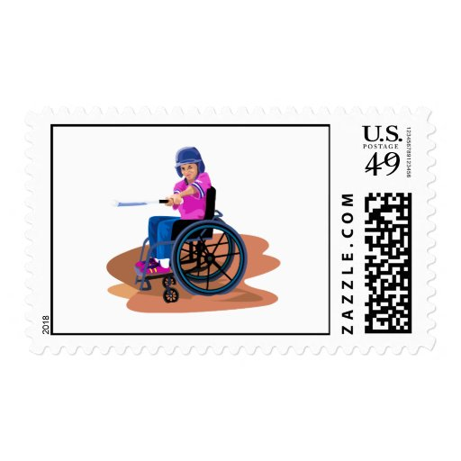 Wheelchair Girl Ball.png Postage Stamp