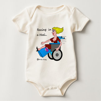 Wheelchair Girl in Heel Amputee Baby Bodysuit