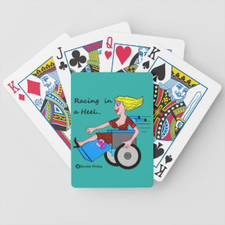 Wheelchair Girl in Heel Amputee on Deck Bicycle Playing Cards