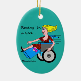 Wheelchair Girl in Heel Amputee on your tree Ceramic Ornament