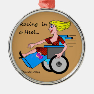Wheelchair Girl in Heel Amputee on your tree Metal Ornament