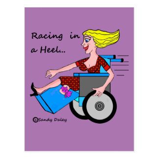 Wheelchair Girl in Heel Amputee Postcard