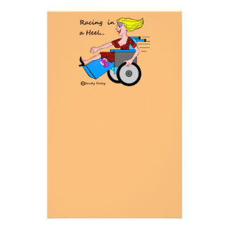 Wheelchair Girl in Heel Amputee send me a letter Stationery