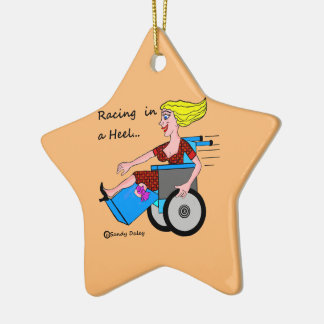 Wheelchair Girl in Heel Amputee starring on Ceramic Ornament
