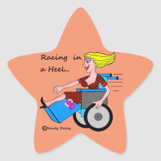 Wheelchair Girl in Heel Amputee stick up Star Sticker